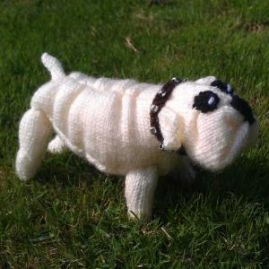 knitted bulldog white